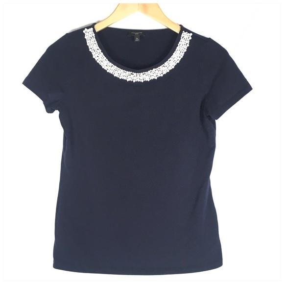 4580e0b6711633 Talbots Tops   Navy Blue Short Sleeve Tee White Bead Trim   Poshmark